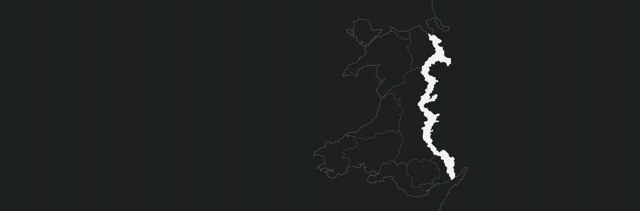 An outline map of Wales Borders